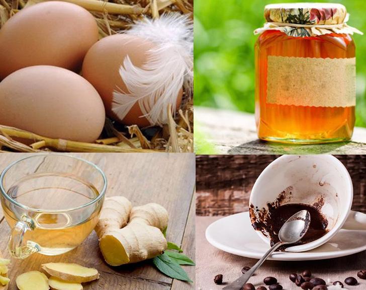 Укрепляющая маска для волос: яйца, имбирь, мед, кофейня гуща