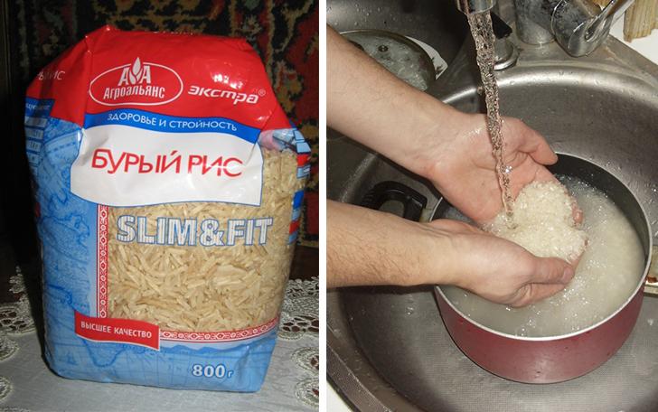 Тщательное промывание риса