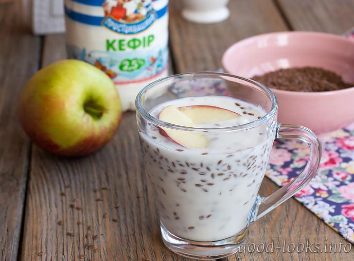 Кефир с семенами льна и яблоками