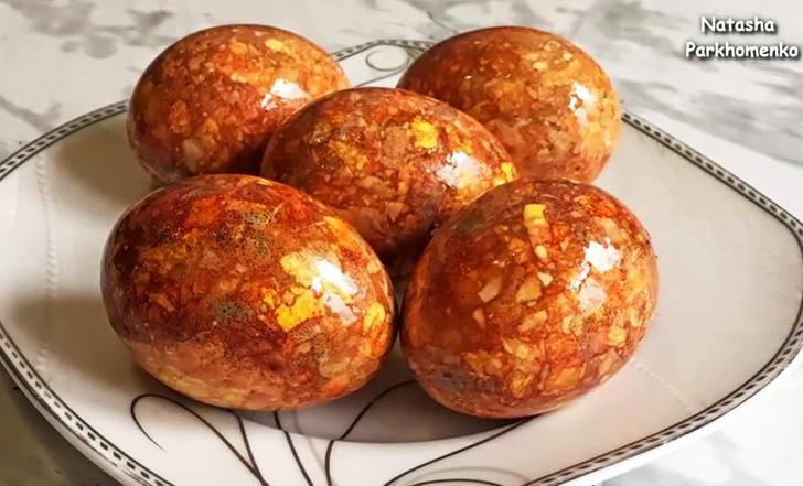 Мраморныые яйца, покрашенные в луковой шелухе без зеленки