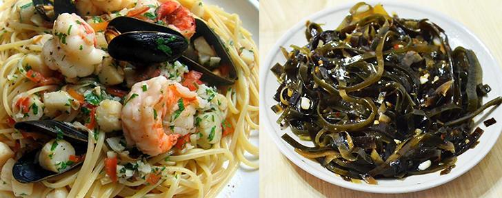 Макароны с морепродуктами, морская капуста