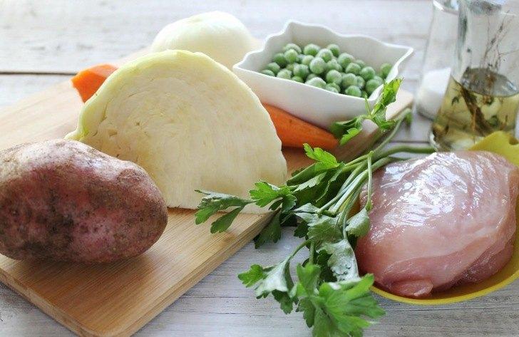 Kук, белокочанная капуста, картофель